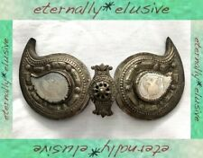 Antique 19thC Turkish Ottoman Empire Mother of Pearl Metal Ornate Belt Buckle