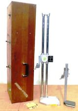 """MITUTOYO DIAL HEIGHT GAGE 192-114, .001-24"""", WITH DIGITAL COUNTER & WOODEN CASE"""