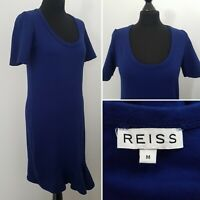 REISS Blue Dress Sz M 12/14 Ruffle Hem Stretch Work Smart Career Shift
