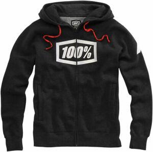 100% MX SYNDICATE Zip-Up Hoodie Sweatshirt (Black Heather/White) Pick Size