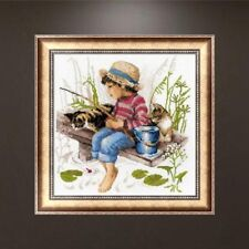 DIY 5D Kid Fishing Diamond Embroidery Rhinestone Painting Cross Stitch Decor