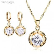 Yellow Gold Crystal Drop Pendant Necklace and Earrings Party Gift Jewellery Set