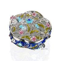 Handmade Crystal Metal Round Box Trinket Boxes Figurines Jewelry Wedding Gifts