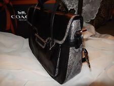 NWT Coach Taylor Marin Flap Satchel Shoulder Bag Black Leather Exotic Trim 23301