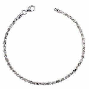 Solid 925 Sterling Silver ROPE chain BRACELET 2.3mm NEW