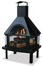 Uniflame 360-Degree View Firehouse Outdoor Patio Wood Fireplace Fire Pit