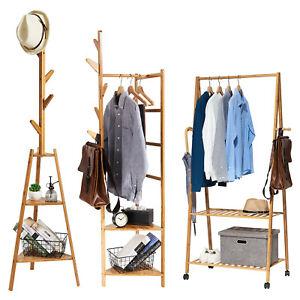 Wood Clothes Garment Rail Rack Coat Dress Hanging Stand Shoe Storage Shelf Wheel