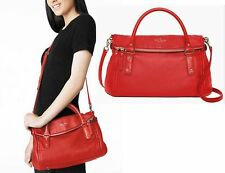 RARE SOFT PEBBLED GERANIUM RED LEATHER Kate Spade NY Cobble Hill small LESLIE