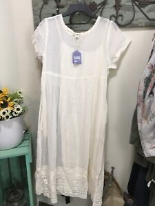sz Large NWT April Cornell ivory Cotton Crochet Dress