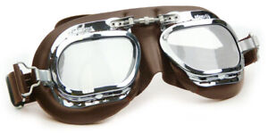 Halcyon Mark 410 Brown Leather Classic Goggles - For Motorcar Racing Enthusiasts