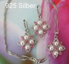 925 Silber SchmuckSet Perlen Stern Halskette Rose Anhänger Creolen Zirkon  Boho