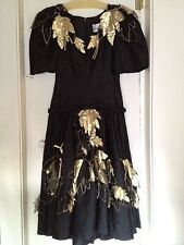 Arnold Scaasi Designer Couture Black Gold Formal 80s Evening Gown Starlet Size 8