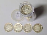 Complete Set Roosevelt Silver Dimes 1946-1964 in Tube All 48 Dimes
