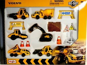 Volvo Construction 6 pack Diecast Vehicles. Digger Dumper Truck Roller. Gift Toy