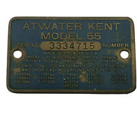Vintage Metal ID Tag Plate From ATWATER KENT Model 55 Radio Antique   C8