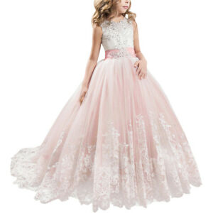 Flower Girl Dress Lace Tulle Ball Gown for Junior Wedding Bridesmaid Communion