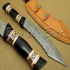 BEAUTIFUL CUSTOM HAND MADE DAMASCUS STEEL TANTO HUNTING BOWIE KNIFE HANDLE HORN
