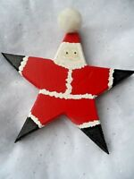 Wood Christmas Ornament - HAND CRAFTED STAR SANTA HAND PAINTED