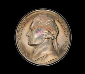 1948-S Jefferson Nickel PCGS MS66+FS Full Steps Rainbow Toned Only 19 Finer!