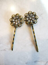 Antique bronze hair pin with swarovski crystals (set of two)