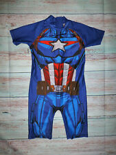 Captain America Boys Rashguard Swimsuit Size 6
