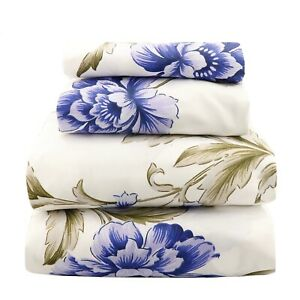 Beautiful Soft Breathable 4 pcs Bedding Sheet Set Blue Olive Floral