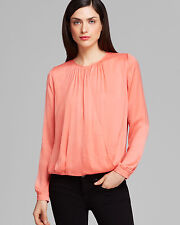 NWT $295 VINCE Cross Front Draped Satin Blouse Top in Coral,sz.4/S