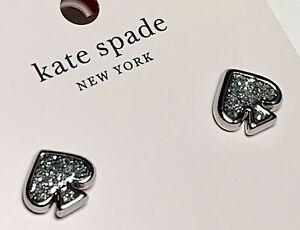 NEW Kate Spade Sliver Glitter EVERYDAY SPADE Stud Earrings Sliver Tone