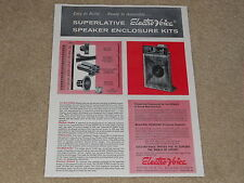 Electro-Voice Patrician IV KD1 Speaker Ad, 1957, 1 page, Article, Specs, RARE!