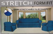 STRETCH FORM FIT-3Pcs Slipcovers Set,Couch/Sofa+Loveseat+Chair Covers-NAVY BLUE