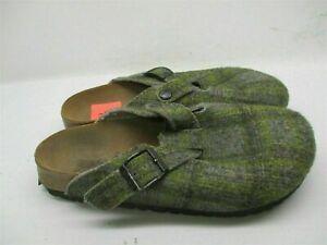 BIRKI'S Women's Size 6 Slip On Comfort Gray/Green Plaid Slippers