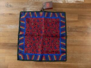 ETRO Milano reversible red floral motif silk pocket square authentic - NWT