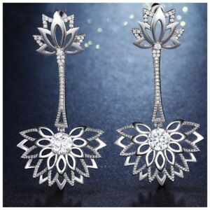 The Natalle Gorgeous Long Art Deco Earrings Made Using Swarovski Crystals S11