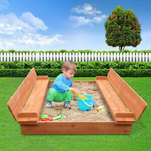 Kids Wooden Outdoor Sandpit Set With Cover- Natural Wood