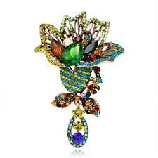 Retro Style Royal Multi-color Gold Plated Rhinestone Glass Big Dangle Brooch Pin