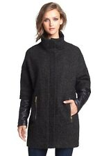 Vince Camuto Olive Black Faux Leather Sleeve Bouclé Tweed Wool Blend Coat Size M