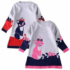Toddler Kids Baby Girl Long Sleeve Fox Dress Princess Party Tutu Dresses Clothes