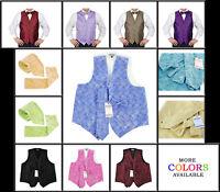 4 Piece Mens Paisley Tuxedo Vest with Hanky, Tie and Bow-Tie by Moda Di Raza
