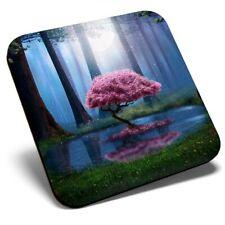 Posavasos cuadrado individual-Rosa árbol mágico bosque #45649