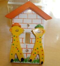 Vtg~IRMI~Nursery~Original~Wood~Wooden~Yellow~Giraffe~Kid~Baby~Switch Plate~Cover