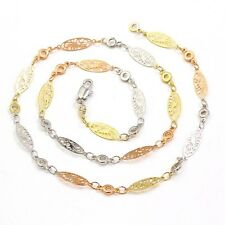 """9ct 9K  """"Gold Filled"""" Multi Tone Ladies Lovely Charms Necklace Chain L=18"""" ,Gift"""
