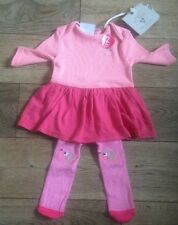 Next Baby Girl Gorgeous Pink & Apricot  Puppy Dress & Tights Set 🐶 0-3 -  BNWT