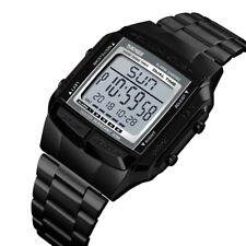 Mens Sports Digital Watch Stainless Steel Waterproof Count-down Alarm Wristwatch