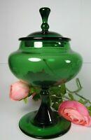 Green Murano Art Glass Apothecary Candy Jar EMPOLI Mid-Century Modern Italian