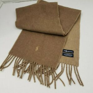 Polo Ralph Lauren Mens Scarf Camel Brown Lambs Wool Fringe Italy Pony Logo