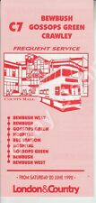 ORIGINAL LONDON & COUNTRY BUS TIMETABLE FOR LOCAL CRAWLEY ROUTE C7 - 1992