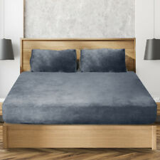 Ultra Soft Fitted Bedsheet With Pillowcase Double Size Dark Grey