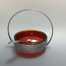 Colourful Red Glass Retro Sugar Jam Cream Bowl Handle & Spoon Vintage High Tea