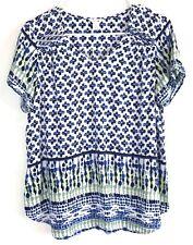 Women's Intro Petite V-Neck Short Sleeve White Blue Green Geometric Pattern PL