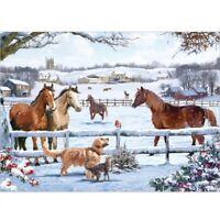 1000 piece Jigsaw Puzzle | CHRISTMAS ON THE FARM | Horse & Dog Winter Landscape